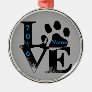 Paw Print in LOVE Metal Ornament