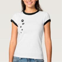 Paw Print Ladies Ringer T-Shirt
