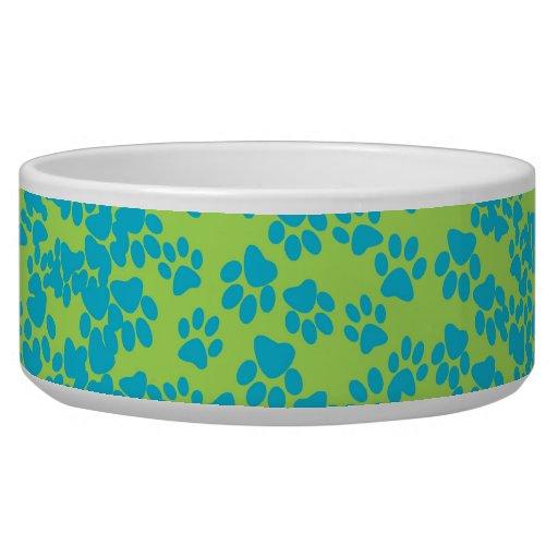 Paw Print - lime & aqua Dog Food Bowl