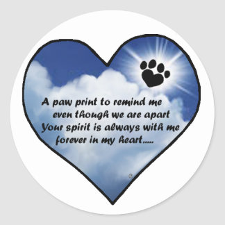 Paw Print Memorial Poem Classic Round Sticker