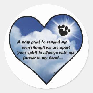 Paw Print Memorial Poem Classic Round Sticker