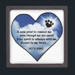 "Paw Print Memorial Poem Jewelry Box<br><div class=""desc"">Losing a a pet is never easy... ... .. it&quot;s like losing your best friend and a member of your family. &quot;Many BELIEVE when their beloved pets die they cross over the Rainbow Bridge. Angel artist , Angelina LaFera, illustrated this heartfelt tribute and wrote this memorial poem to honor the...</div>"