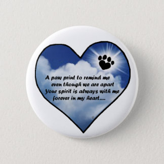 Paw Print Memorial Poem Pinback Button