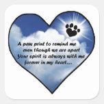 Paw Print Memorial Poem Square Sticker