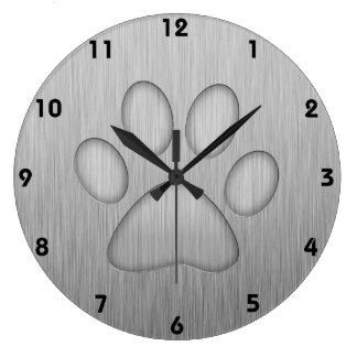 Paw Print; Metal-look Wall Clocks