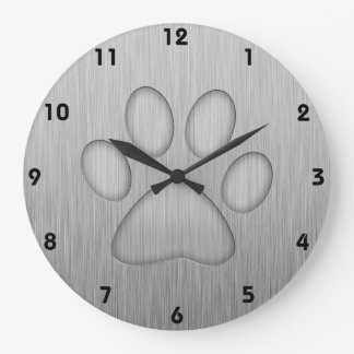 Paw Print; Metal-look Large Clock