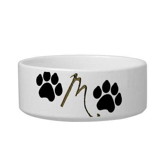 Paw Print Monogram Pet Bowl