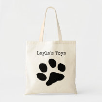 paw print name / pets toys tote bag