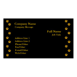 Paw Print On Black Business Card Template