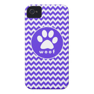 Paw Print on Blue Violet Chevron iPhone 4 Cases