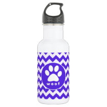 Paw Print on Blue Violet Chevron Stainless Steel Water Bottle