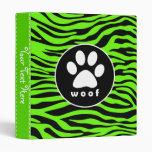 Paw Print on Bright Neon Green Zebra Stripes 3 Ring Binders