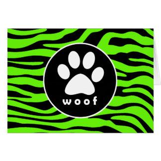 Paw Print on Bright Neon Green Zebra Stripes Card