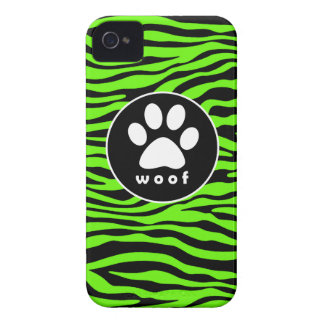 Paw Print on Bright Neon Green Zebra Stripes Case-Mate iPhone 4 Cases