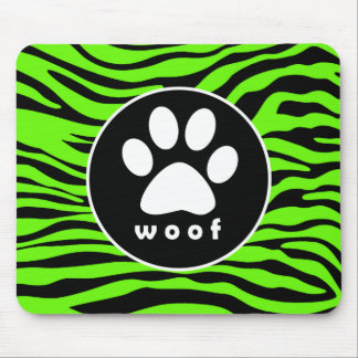 Paw Print on Bright Neon Green Zebra Stripes Mouse Pad