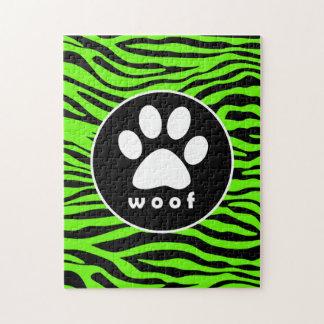 Paw Print on Bright Neon Green Zebra Stripes Puzzle