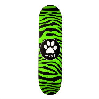 Paw Print on Bright Neon Green Zebra Stripes Skateboard