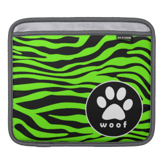 Paw Print on Bright Neon Green Zebra Stripes Sleeve For iPads
