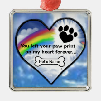 Paw Print On My Heart Christmas Ornaments