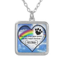 Paw Print On My Heart Silver Plated Necklace