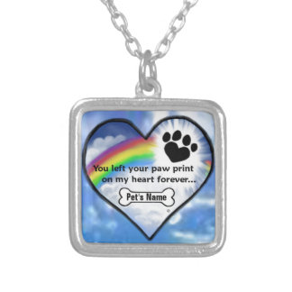 Paw Print On My Heart Square Pendant Necklace