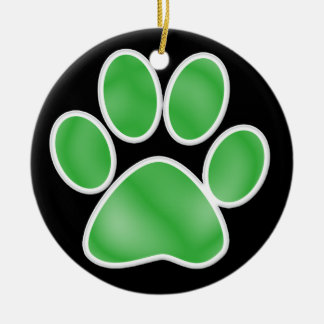 Paw Print Double-Sided Ceramic Round Christmas Ornament