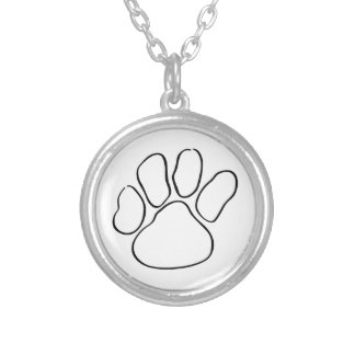 Paw Print Outline Round Pendant Necklace
