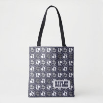 Paw Print Pattern with Name Tote Bag