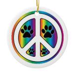 Paw print peace christmas tree ornaments