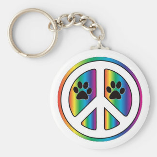 paw print peace sign keychain