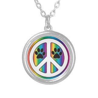 paw print peace sign round pendant necklace