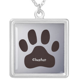Paw Print Personalized Name Animal Identification Silver Plated Necklace