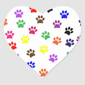 Paw print pet dog colorful sticker, stickers, gift
