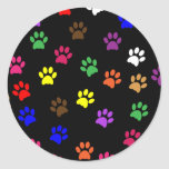Paw print pet dog colorful sticker, stickers, gift classic round sticker