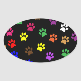 Paw print pet dog colorful sticker, stickers, gift oval sticker