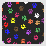 Paw print pet dog colorful sticker, stickers, gift square sticker