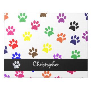 Paw print pet dog custom boys name fun notepad
