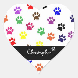 Paw print pet dog custom boys name fun stickers