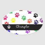 Paw print pet dog custom boyss name oval stickers