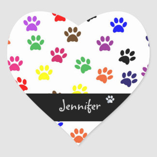 Paw print pet dog custom girls name fun stickers