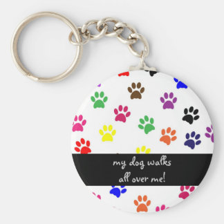 Paw print pet dog humor colorful keychain