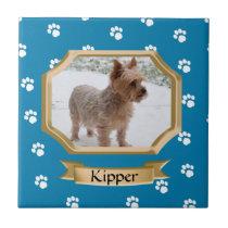 Paw Print Pet Photo Blue Ceramic Tile