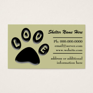 Paw Print Pet Shelter, Rescue, business card
