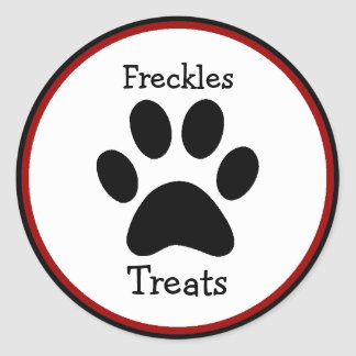 Paw Print Pet Treats Labels Classic Round Sticker