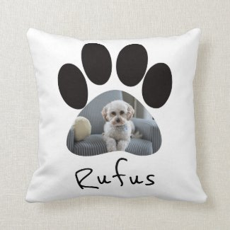 Paw Print Photo Template Personalized Pet Throw Pillow