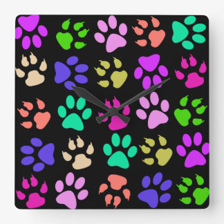 Paw Print Pillow Square Wall Clock