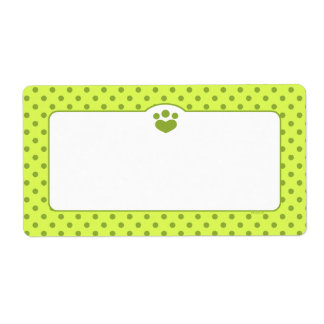 Paw Print Polka Off-Leash Art™ Olive Lime Label