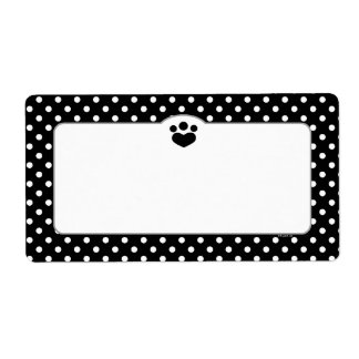 Paw Print Polka Off-Leash Art™ Pet Black Tuxedo Label
