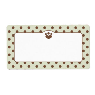 Paw Print Polka Off-Leash Art™ Pet Organization Label