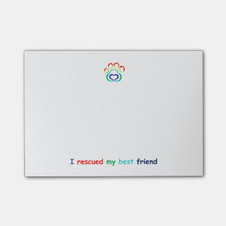 Paw Print Post-It Note Pad, Rescue Dog
